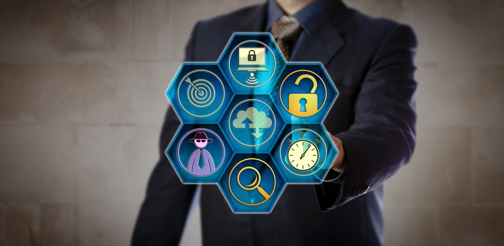 Blue chip manager pushing open virtual lock to initiate a rapid grab-and-go response. Concept for incident response, data breach, intrusion detection, forensic analysis, system backup and recovery.